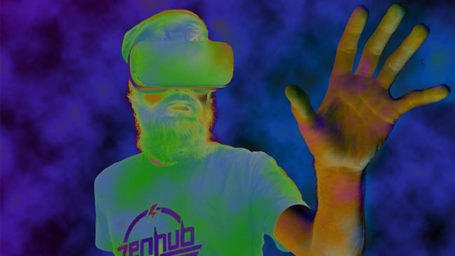 stylized view of man wearing VR goggles