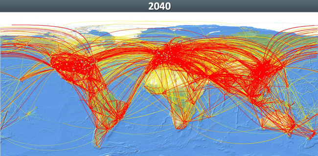 Graphic Projected air traffic in 2040 - image courtesy ICAO