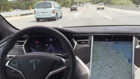 view from cockpit of Tesla