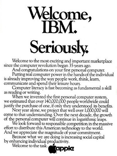 "Apple ad from 1981 ""Welcome, IBM. Seriously."""