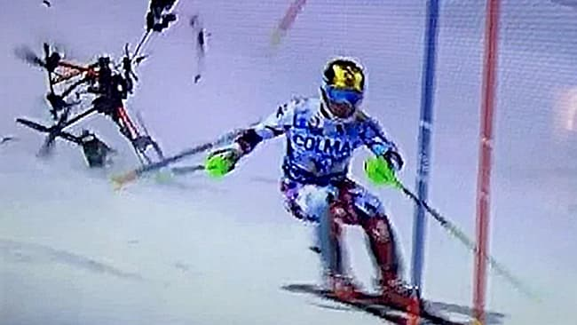 frame grab from video of drone crashing at FSI ski race in Italy in 2015