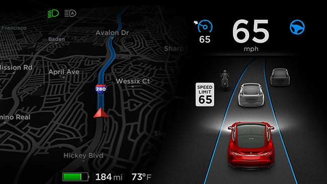 graphic from Tesla website showing dashboard