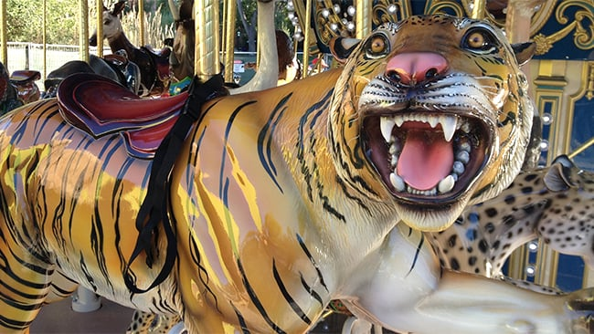 close up of merry go round tiger