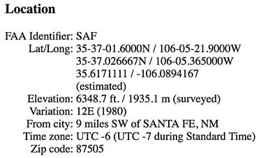 Screen grab showing Lat/Lon for SAF on airnav.com