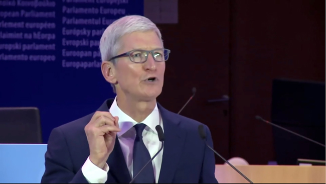 screen grab of Tim Cook in Brussels - click to go to video - courtesy BBC