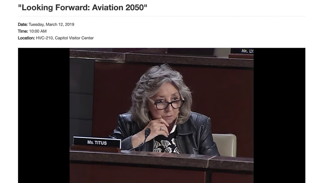 Ms. Titus (D-NV) at House Hearing Looking Forward: Aviation 2050